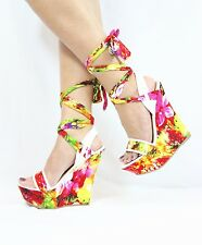 Bamboo Skyline Satin Floral Peep Toe Bloom Print Ankle Wrap Platform Wedge