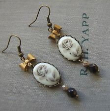 """""""SHADOW Giardino Rose"""" vintage rosa cameo orecchini con fiocco in ottone e vetro perline"""