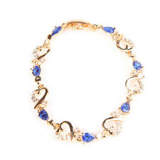 Most Popular Crystal Hollow Heart Link Chain Bangle Bracelet 5 Colors Gift Fine