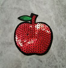 APPLE RED FRUIT SWEET CRAFT DANCE SEQUIN IRON ON SEW ON PATCH BADGE