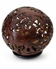 Coconut Shell Sculpture with Stand Hand Carved 'Water Buffalo' NOVICA Bali