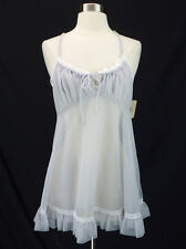 NOS Vintage Val Mode Gray Sheer Chiffon Nylon Babydoll Nightgown Lace Trim M