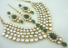 TRADITIONAL GREEN KUNDAN GOLD TONE NECKLACE SET BOLLYWOOD ETHNIC BRIDAL JEWELRY