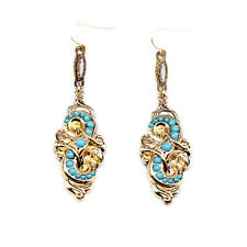 E893 Betsey Johnson Gatsby Gold Blue Beaded Wedding Bridal Dangling Earrings  US