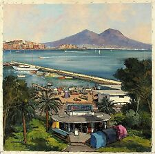 MARENGO Signed Vintage Mid Century cMid 1960's Oil Painting BAY OF NAPLES, ITALY