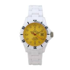 Toy Watch Unisex Yellow Dial Date White Band Plasteramic Watch FL01WHYL