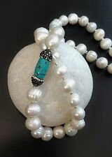 "19"" HIGH LUSTER BAROQUE FRESHWATER 12-14MM PEARL NECKLACE ZIRCON PAVE TURQUOISE"