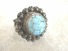 VINTAGE STERLING SILVER TURQUOISE ADJUSTABLE POISION RING, sz 7 (lot H)