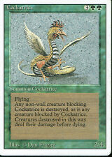 MAGIC THE GATHERING REVISED GREEN RARE COCKATRICE grade 5/10