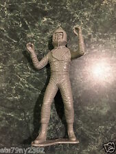 "Vintage Unmarked Astronaut Space Toy Figure Gray Plastic 5.5"" Tall"
