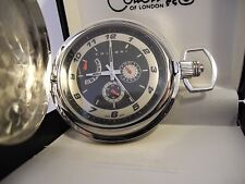 COLIBRI  STAINLESS STEEL BLACK FACE  3 EYE  POCKET WATCH W/ CHAIN  NEW  AS-IS