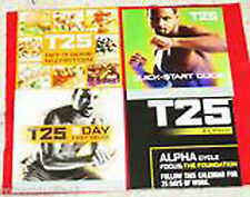 FOCUS T25 - NUTRITION GUIDE+QUICK START GUIDE+5 DAY FAST TRACK+CALENDAR -NO DVDs