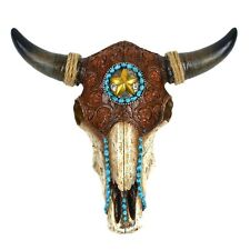 Resin/Leather Steer Skull&Horns Wall Mount Bull/Cow Head Western Star Home Decor