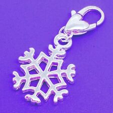 Silver Snowflake Charm Heart Lobster Clasp Ornament Winter Jewelry Lot of 10