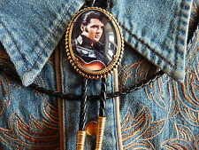 NEW EXCLUSIVE ELVIS PRESLEY BOLO TIE GOLD METAL, LEATHER CORD WESTERN ROCKABILLY