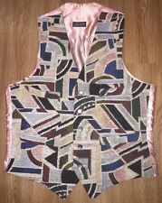 Vintage Liberty Of London Waistcoat Vest Men's M Thick Tapestry & Shell Buttons