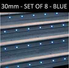 SET OF 8 - 30mm IP67 ROUND Blue LED DECKING / GROUND / PLINTH LIGHT KIT