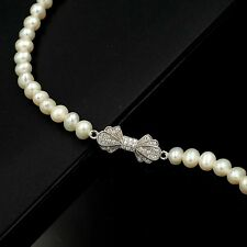 7.5 In White Pearl 925 Sterling Silver CZ Cultured Freshwater Beaded Bracelet 86