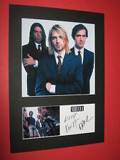NIRVANA A4 PHOTO MOUNT SIGNED REPRINT AUTOGRAPHS KURT COBAIN DAVE GROHL TICKET