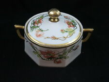 Flambeau China L.D.B.& C Limoges Two Handled Biscuit Jar Thick Gold Trim Signed
