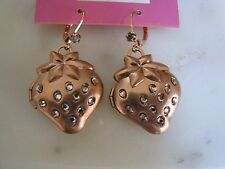 BETSEY JOHNSON VINTAGE ROSE GOLD CRYSTAL STRAWBERRY LOCKET DROP EARRINGS~RARE