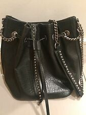 ZARA Black Studded Bag With Silver Chain