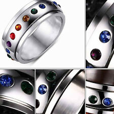Womens Rotating Spinner Ring Stainless Steel Rainbow Crystal Colorful Rhinestone
