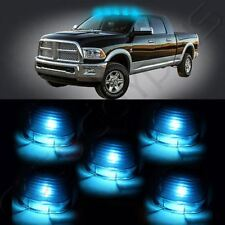 5x Roof Top Cab Marker Light Smoke Cover + 5x Ice Blue SMD 194 LED Bulb for Ford