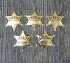 5 NEW METAL TOY SHERIFF BADGES WEST COWBOY SILVER SHERIFF'S BADGE PARTY FAVORS