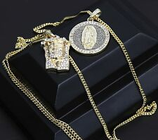 """Mens 14k Gold Plated SI Stardust Guadalupe & Jesus 5 line 30"""" Cuban Chain 01"""