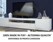 MOBILE TAVOLO BIANCO LUCIDO 100% MADE IN ITALY PORTA TV LACCATO SOGGIORNO