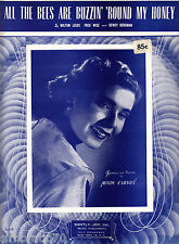 MINDY CARSON All The Bees Are Buzzin' Round My Honey SHEET MUSIC
