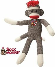 "Sock Monkey Red Heel Doll 20"" Stuffed Plush Tall Original Vintage Retro Animal"