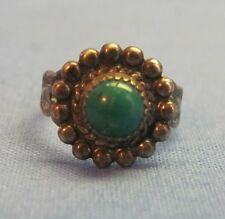 Antique Southwestern Ring Size 3 Turquoise Bell Trading Post Sterling Silver