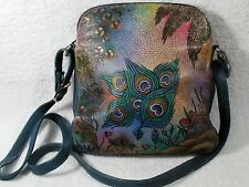 Biacci Leather Hand Painted Peacock Beautiful Crossbody Bag