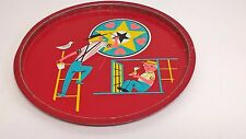 "Vintage 11""  Red Metal Serving Tray Pennsylvania Dutch Amish Father Son"
