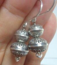 BOTH BEAD STAMPED VTG NAVAJO PEARLS NATIVE BENCH DANGLE EARRINGS Sterling Silver