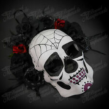 Mens Day of the Dead Full Face Skull Black Floral Halloween Masquerade Mask
