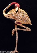 Signed Swan Swarovski Pink Flamingo Brooch Pin