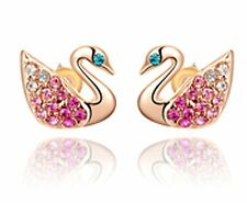 Swan Earrings Gold Stud Crystal Rhinestone Pink Vintage Birthday Gift Christmas