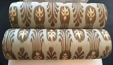 Set of 2 - Custom Designer Bolster Neckroll Pillows Chambray, Beige & Gold Ikat