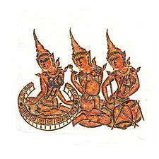 "Thai Temple Rubbing - Colored - Three Classical Musicians - 24"" x 24"" -   2409MC"