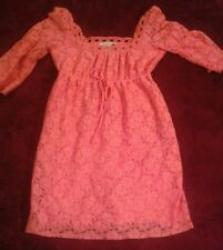Laundry By Design Peachy Pink   Eyelet Flowered Adorable Dress  Sz S Pretty