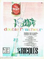 PUBLICITE ADVERTISING 056  1961  Ricqlès  eau menthe double fraicheur