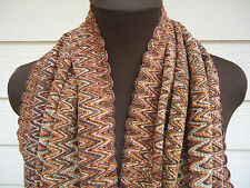 NEW $225 Missoni Orange Label Scarf Chevron Brown Fringe Soft