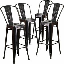 Flash Furniture 30'' High Black-Antique Gold Metal Indoor-Outdoor Barstool