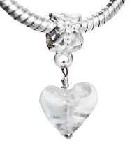 White Clear Murano Glass Heart Dangle Bead fits Silver European Charm Bracelets