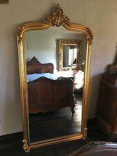 LARGE HUGE WOOD ANTIQUE GOLD FRENCH WEDDING LEANER DRESS MIRROR  7FT