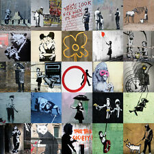 "Banksy Square Collage 2 Large 30"" x 30"" Canvas Print"