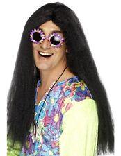 Uomo 60s 1960s Anni 60 Hippy Costume Parrucca Nera Hippie nuovo da Smiffys